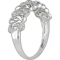 Miadora 10k White Gold 1/10ct TDW Diamond Anniversary Ring - Thumbnail 1