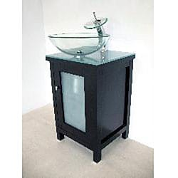 Modern Solid Wood Cabinet/ Round Glass Sink Bathroom Vanity - Thumbnail 1