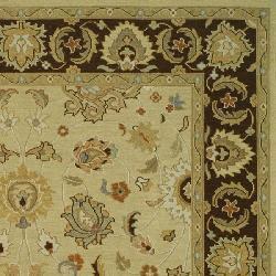 Indo Sumak Handmade Heirloom Ivory/ Brown Rug (10' x 14') - Thumbnail 1