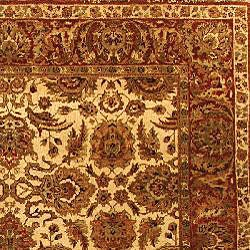 Heirloom Hand-knotted Hand-spun Wool Ivory/ Rust Rug (5' x 7'6) - Thumbnail 1