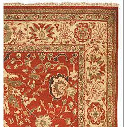 Hand-knotted Oushak Red/ Beige Wool Rug (9' x 12') - Thumbnail 1