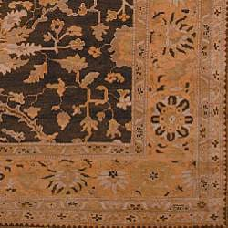 Oushak Hand-knotted Dark Green/ Gold Wool Rug (6' x 9')