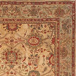 Oushak Hand-knotted Sarouk Beige/ Green Wool Rug (9' x 12') - Thumbnail 1