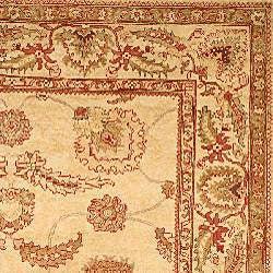Oushak Hand-knotted Hamad Ivory Wool Rug (6' x 9')