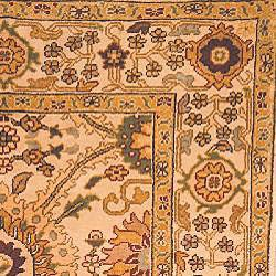 Oushak Legacy Hand-knotted Birj Ivory Wool Rug (6' x 9') - Thumbnail 1
