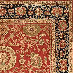 Oushak Hand-knotted Esfan Red/ Navy Wool Rug (9' x 12')