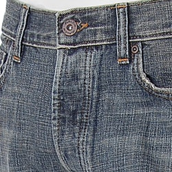 ADI Men's PGL Series Button Fly Distressed Bootcut Blue Jeans