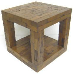 Reclaimed Teak Cube Accent Table (Thailand)
