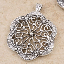 Sterling Silver Cubic Zirconia Floral Jewelry Set (Thailand)