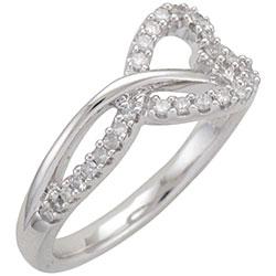 Unending Love Sterling Silver 1/5ct TDW Diamond Heart Ring (I-J, I1-I2)