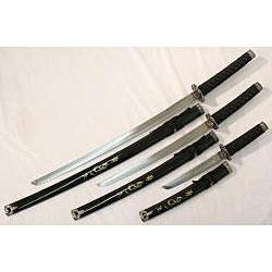 Dragon Samurai 3-piece Black Katana Sword Set - Thumbnail 1