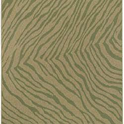 Meticulously Woven Green/Beige Zebra Cafe Animal Print Rug (7'6 x 10'6) - Thumbnail 1