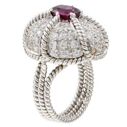 18k Gold Pink Tourmaline and 2ct TDW Diamond Estate Ring (I, I1) (Size 6)