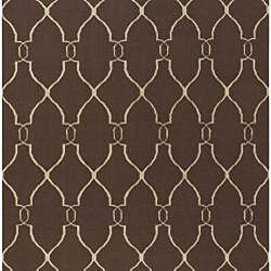 Hand-woven Brown Wool Rug (5' x 8')
