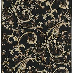 Cafe Black Floral Indoor/Outdoor Rug (7'6 x 10'6) - Thumbnail 1