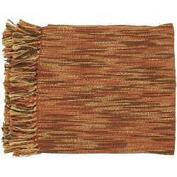 Rust/ Brown Throw Blanket with 2 Decorative Pillows - Thumbnail 1