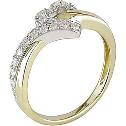10k Two-tone Gold 1/6ct TDW Diamond Heart Ring - Thumbnail 1