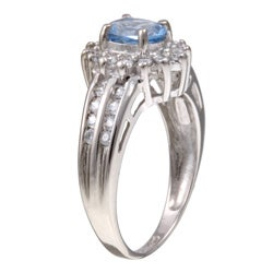 Sterling Silver Oval Light Blue Cubic Zirconia Ring - Thumbnail 1