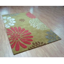 Hand-tufted Giant Flowers Green Wool Rug (5' x 8') - Thumbnail 1