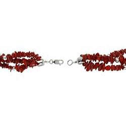 Glitzy Rocks Sterling Silver Three-strand Coral Chip Bracelet
