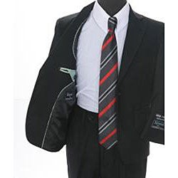 Ferrecci Boys' Solid Black 2-button Suit
