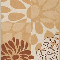 Meticulously Woven Beige Contemporary Manchester Floral Set of 2 Rugs (2' x 3') - Thumbnail 1
