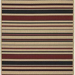 Cafe Beige Stripe Rug (3'6 x 5'6) - Thumbnail 1
