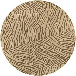 Cafe Zebra Print Indoor/Outdoor Rug (5'3 Round) - Thumbnail 1
