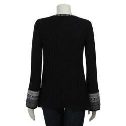 RXB Women's Fair Isle Black Sweater - Thumbnail 1