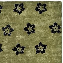 Safavieh Handmade Soho Leaves Sage New Zealand Wool Rug (8' Square) - Thumbnail 1
