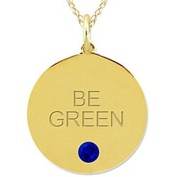 10k Gold September Birthstone Created Sapphire 'BE GREEN' Necklace - Thumbnail 1