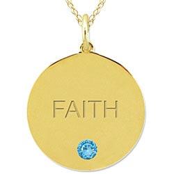 10k Gold December Birthstone Swiss Blue Topaz Engraved 'FAITH' Necklace