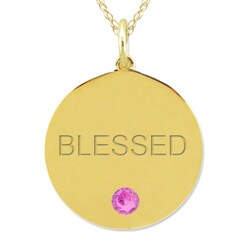 10k Gold October Birthstone Pink Tourmaline Engraved 'Blessed' Necklace - Thumbnail 1