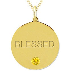 10k Gold November Birthstone Citrine Engraved 'BLESSED' Necklace - Thumbnail 1