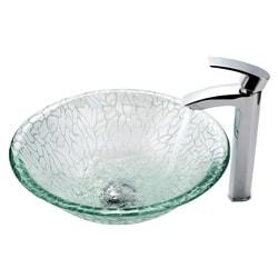Kraus Broken Glass Vessel Sink and Visio Faucet