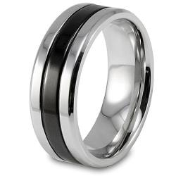 West Coast Jewelry Stainless Steel Black-plated Grooved Ring - Thumbnail 1