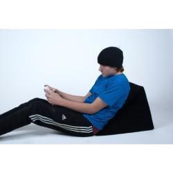 Video Game Wedge Black Microfiber Lounge Chair - Thumbnail 1