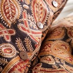 Cotton Kalamkari Red and Black Duvet Cover Set (India) - Thumbnail 1