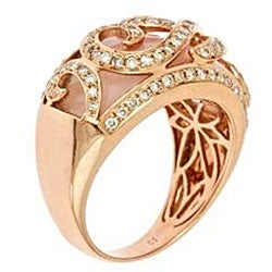 D'Yach 10k Rose Gold Pink Opal and 1/2ct TDW Diamond Ring (G-H, IJ) (Size 7) - Thumbnail 1