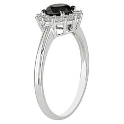 14k Gold 1 3/8ct TDW Black and White Diamond Ring - Thumbnail 1