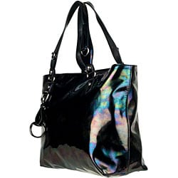 Gucci Icon Bit Black Iridescent Patent Leather Medium Tote - Thumbnail 1