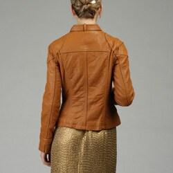 MICHAEL Michael Kors Women's Leather Zip Front Motocross Jacket - Thumbnail 1