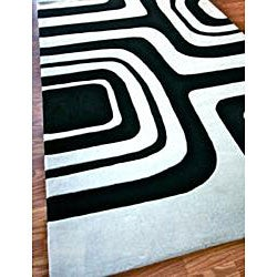 nuLOOM Hand-tufted Pino Geometric Black Rug (7'6 x 9'6) - Thumbnail 1