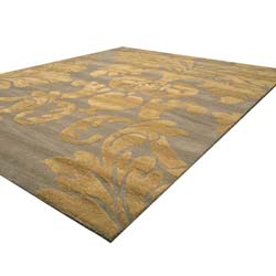 EORC Hand-tufted Wool Blue Hand-'Avalon' Blue/ Gold Rug (8'9 x 11'9)
