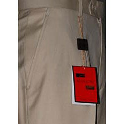 Men's Camel Single-pleat Wool Pants - Thumbnail 1