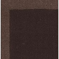 Hand-tufted Chocolate Border Wool Rug (2'5 x 12')