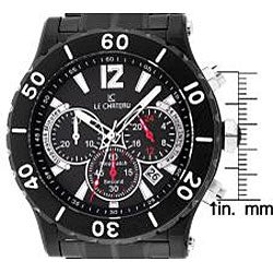 Le Chateau Dinamica Men's Black Ion-plated Sport Watch - Thumbnail 1