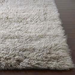 Thumbnail 2, Alexa Standard Natural Grey Flokati New Zealand Wool Shag Rug (3' x 5'). Changes active main hero.