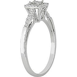 10k White Gold 1/5ct TDW Diamond Halo Ring - Thumbnail 1