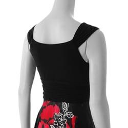 Sangria Womens Black/ Deep Coral Handkerchief Hem Floral Print Dress